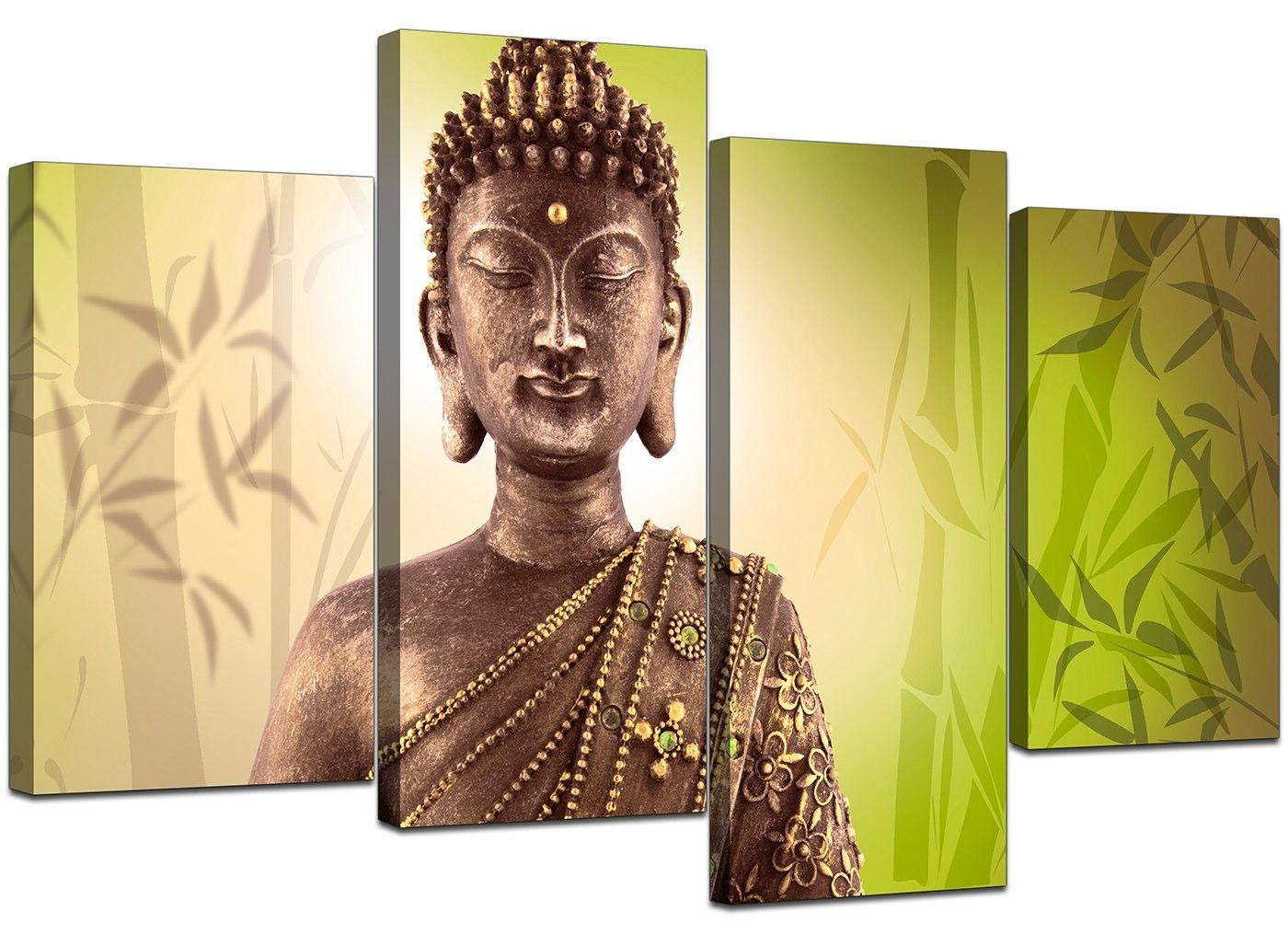 Canvas Art Of Buddha In Green For Your Living Room With Regard To Large Buddha Wall Art (Image 5 of 20)