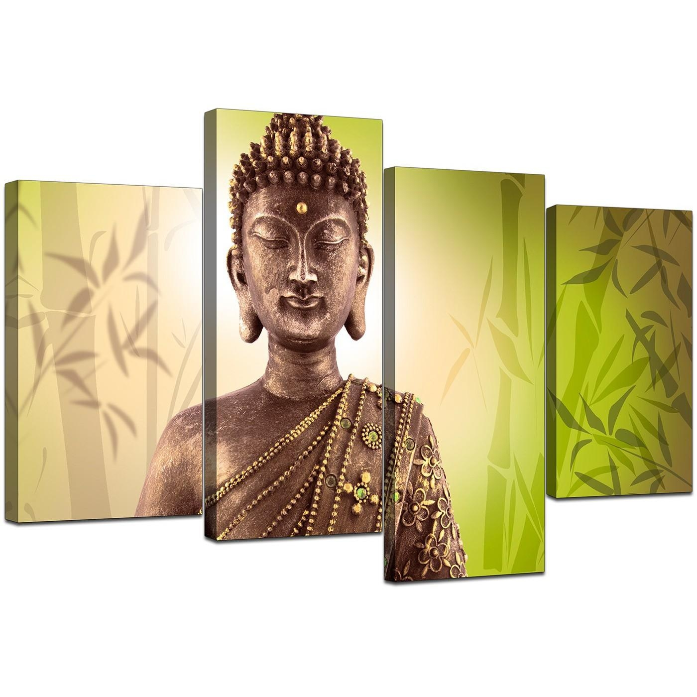 Canvas Art Of Buddha In Green For Your Living Room Within Large Green Wall Art (View 10 of 20)