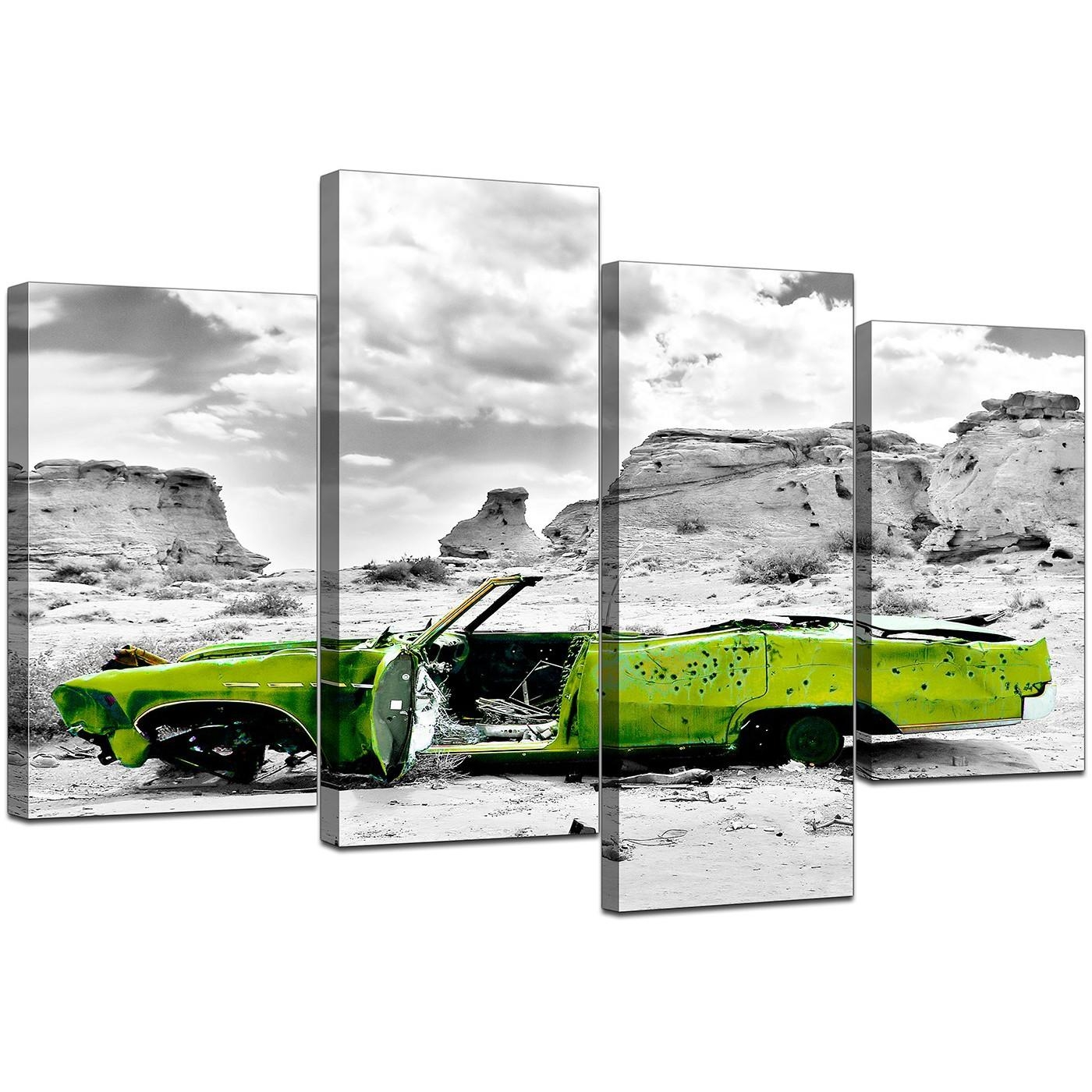 Canvas Art Of Green Car In Black & White For Your Office Throughout Cheap Black And White Wall Art (View 7 of 20)