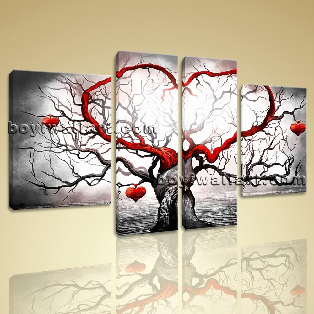 Canvas Giclee Print Modern Abstract Love Tree 5 Panels Framed Wall Inside Huge Wall Art (View 9 of 20)
