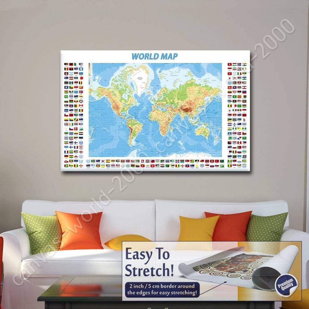 Canvas +Gift Physical Modern Flags World Map Paintings Wall Art In Map Wall Art (Image 6 of 20)