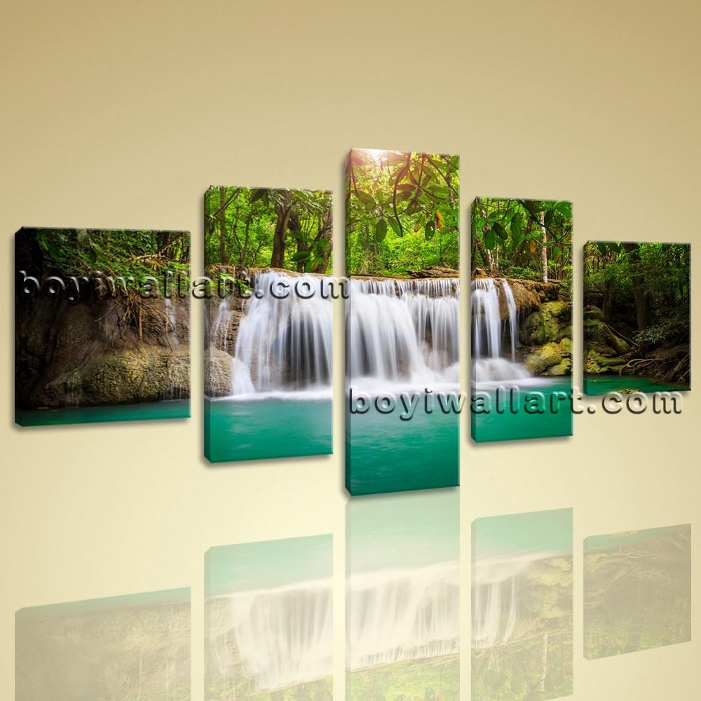 Canvas Lake Hd Waterfall Landscape Tree Forest Sunset Glow Wall Regarding Waterfall Wall Art (View 20 of 20)