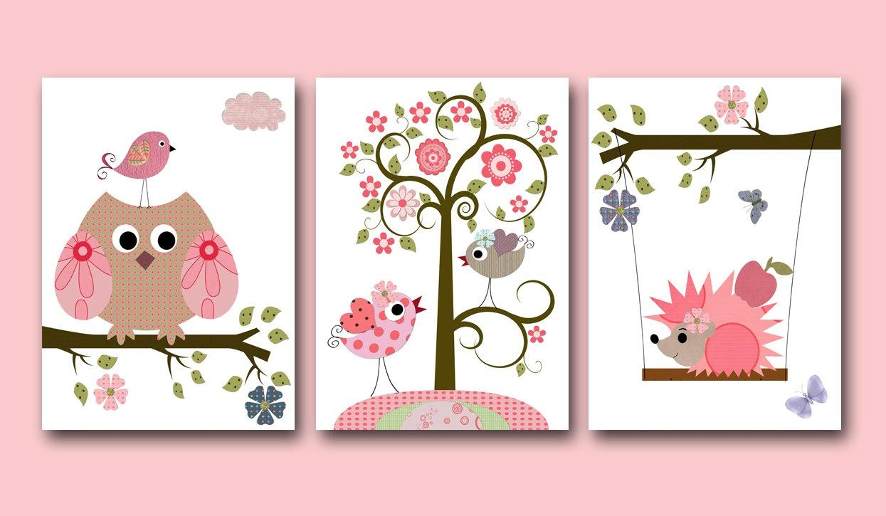 Canvas Owls Art For Children Kids Wall Art Baby Girl Room With Regard To Girls Canvas Wall Art (View 15 of 20)
