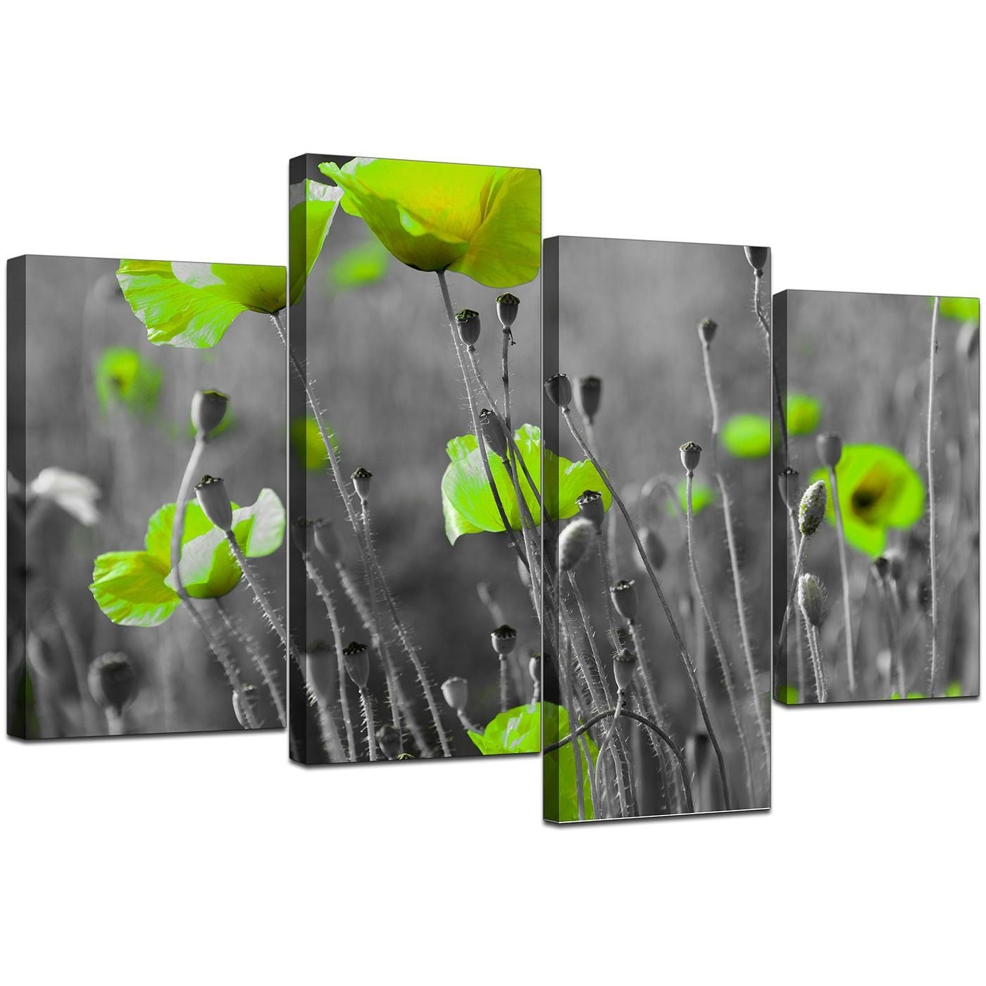 Canvas Pictures Of Green Poppies In Black & White For Your Living Room With Green Canvas Wall Art (View 17 of 20)