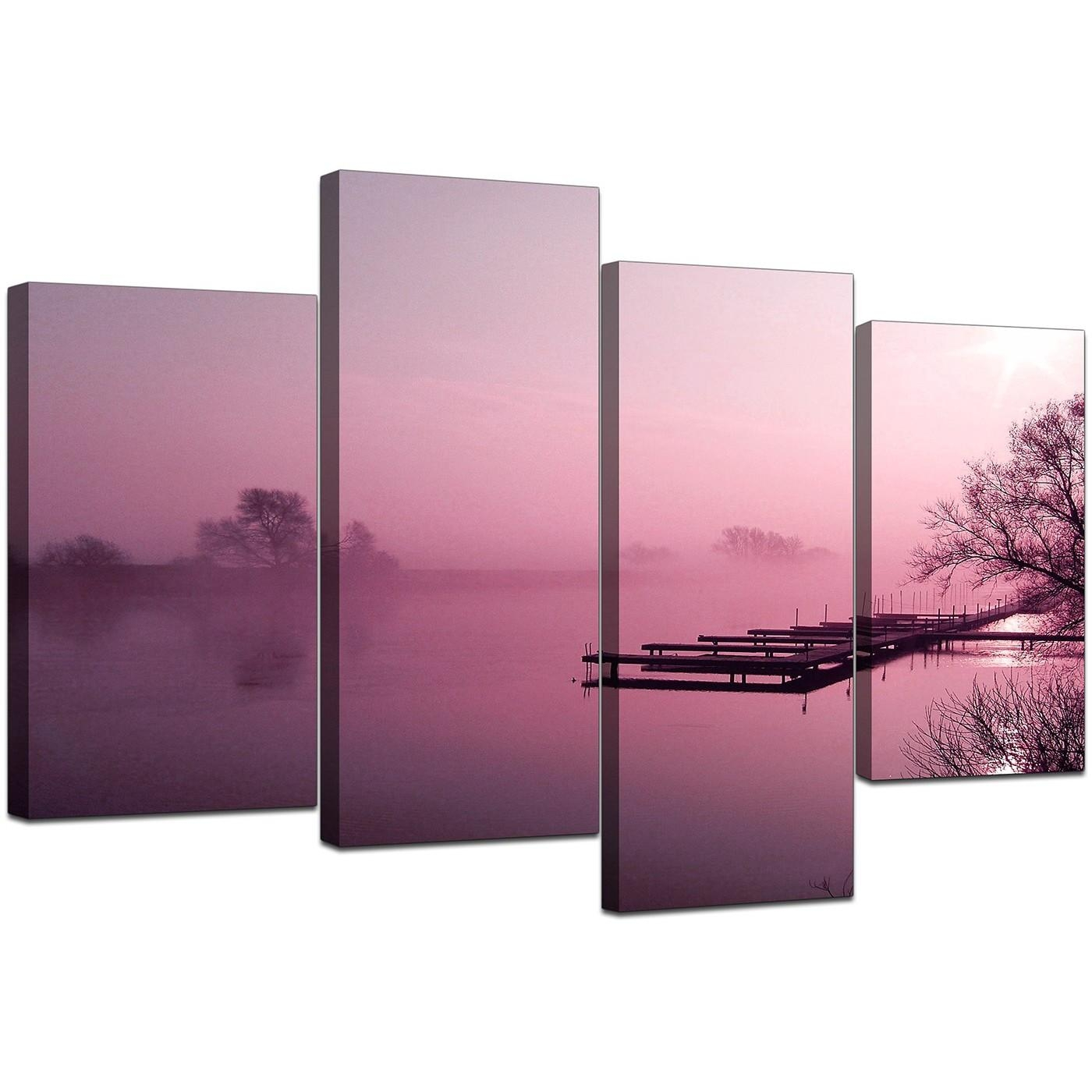 Canvas Pictures Of River Landscape In Plum For Your Dining Room Intended For Plum Coloured Wall Art (Image 2 of 20)