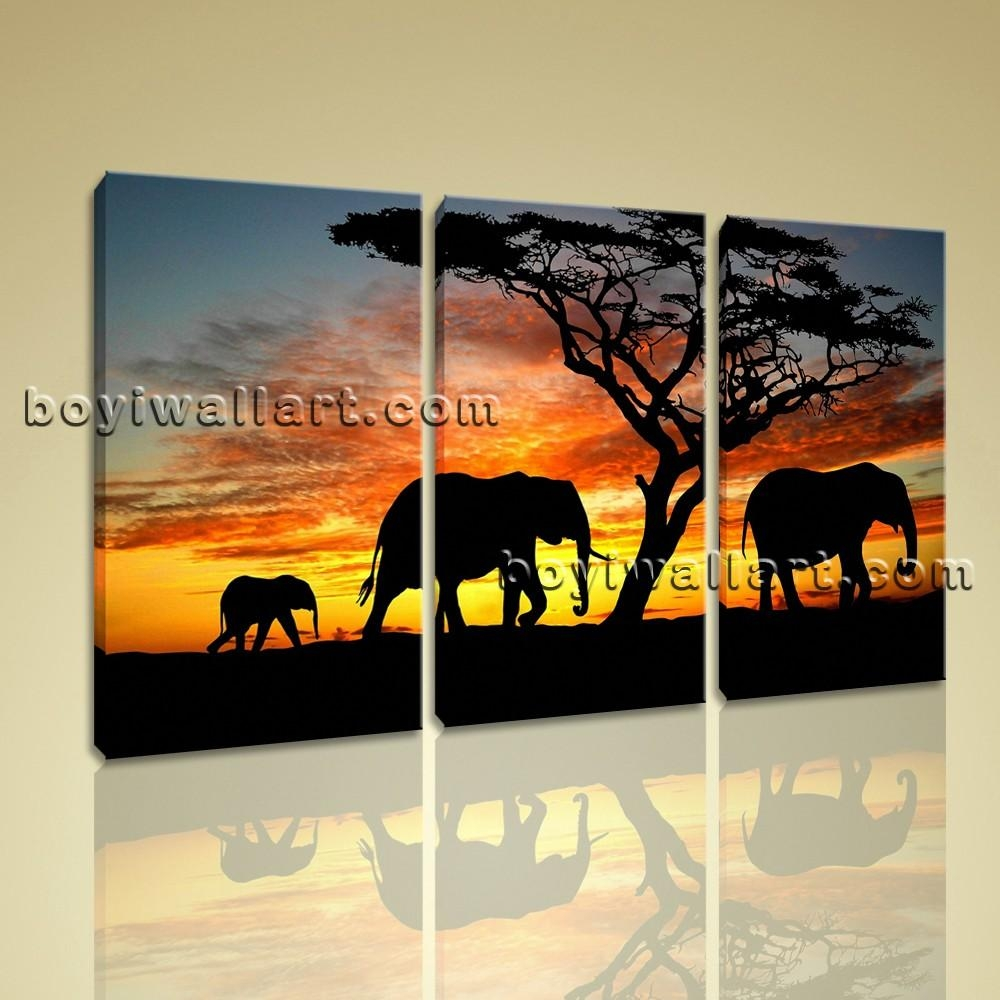 Canvas Print Africa Landscape Tree Elephant Sunset 3 Pieces Wall For Canvas Landscape Wall Art (View 15 of 20)