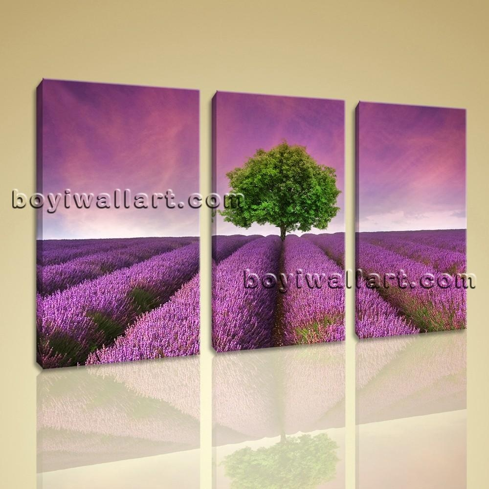 Canvas Print Contemporary Wall Art Sunset Purple Landscape In Large Modern Wall Art (View 16 of 20)