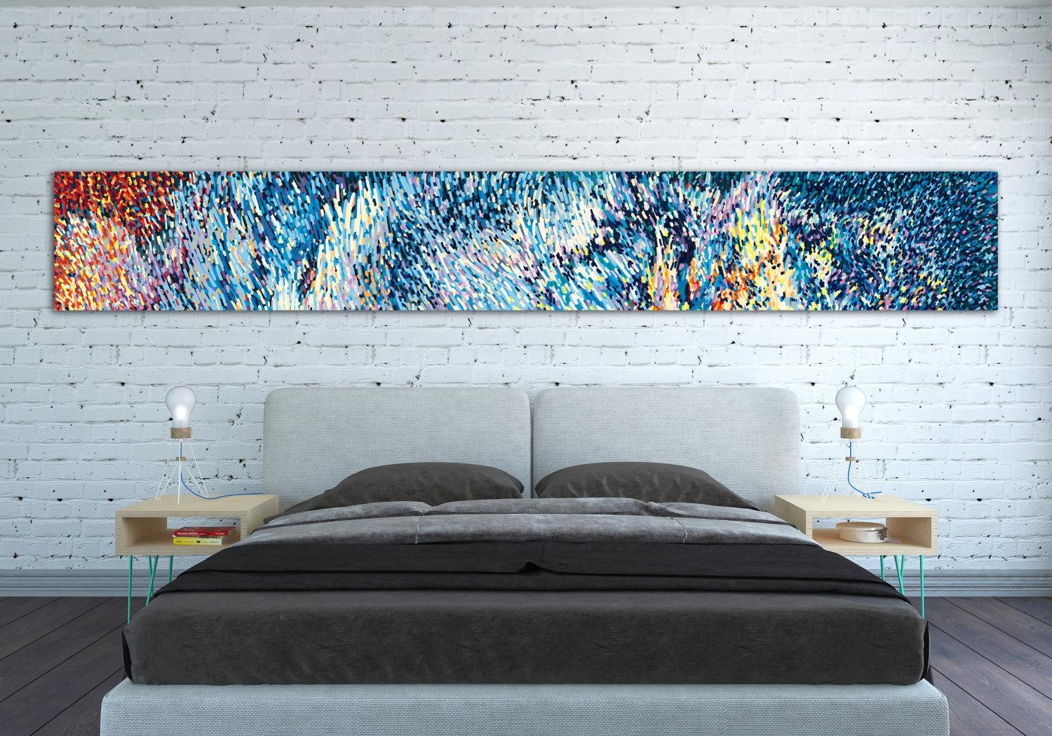Canvas Print Horizontal Extra Long Horizontal Large Abstract With Large Teal Wall Art (Image 6 of 20)