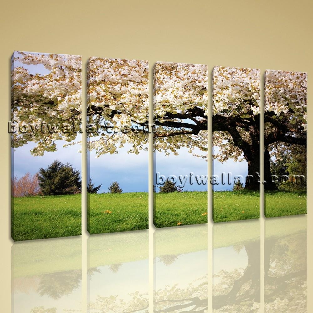 Canvas Print Landscape Cherry Blossom Tree Gallery Wrapped Wall For Huge Canvas Wall Art (Image 7 of 20)