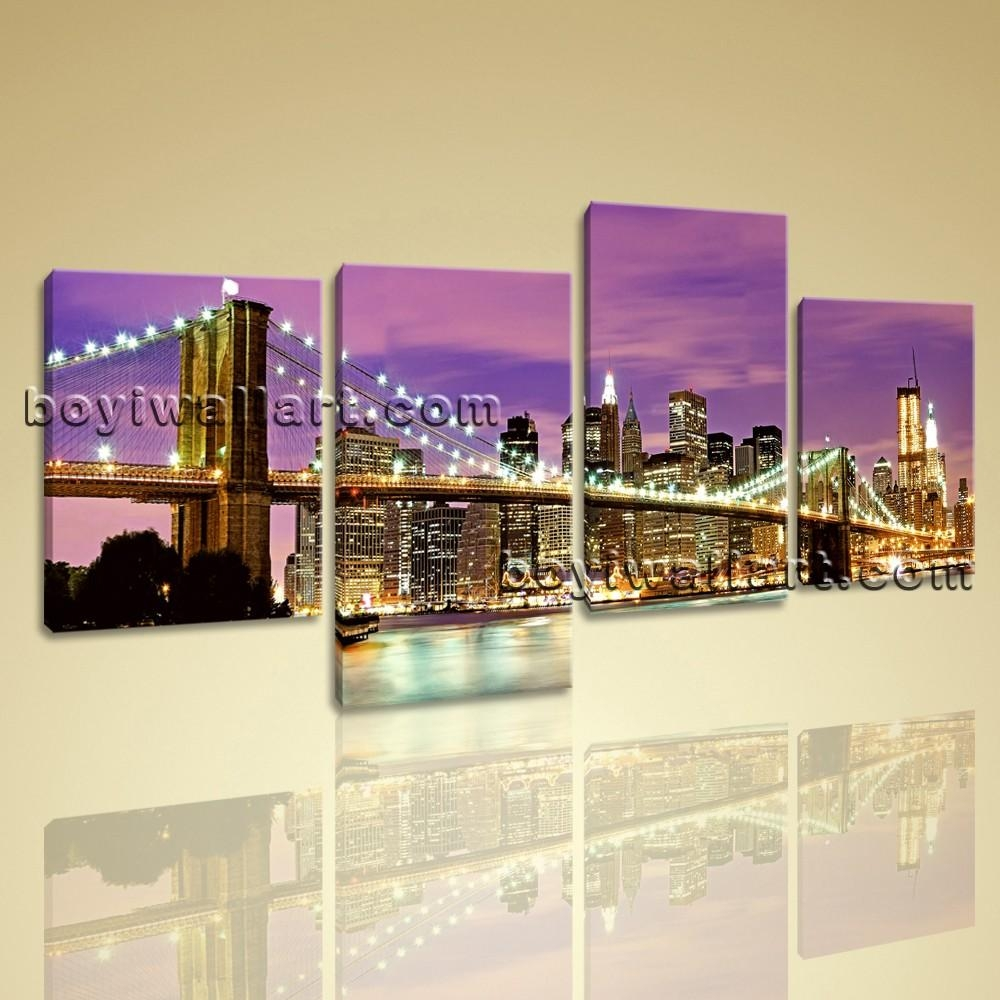 Canvas Prints Cityscape New York Night Brooklyn Bridge Framed Wall Art Pertaining To Cityscape Canvas Wall Art (View 7 of 20)