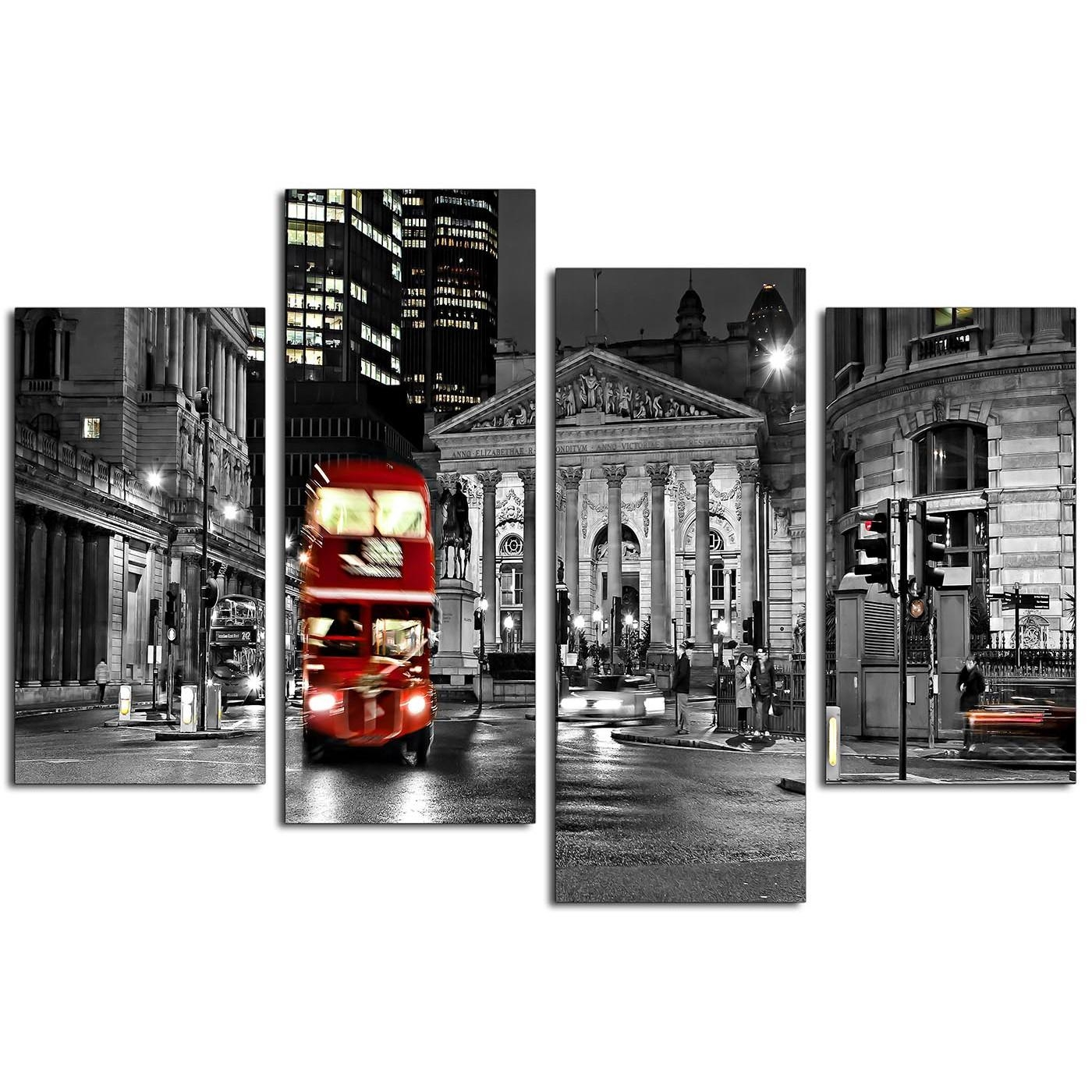 Canvas Prints Of A Red London Night Bus In Black And White Within Black And White Wall Art With Red (Image 9 of 20)