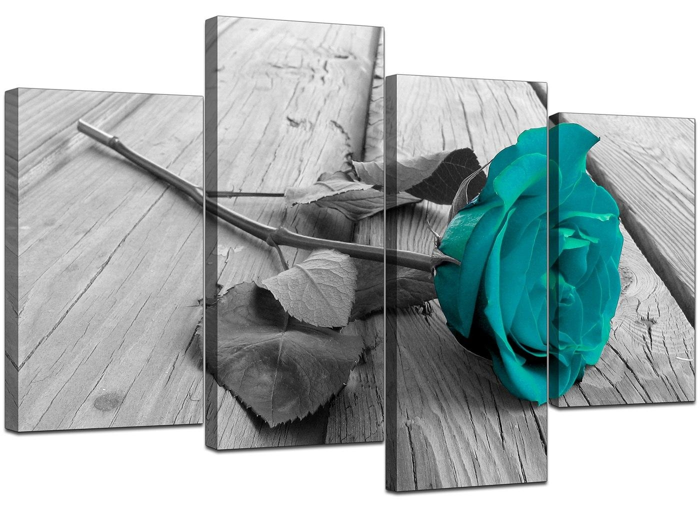 Canvas Prints Uk Of Teal Rose In Black & White For Your Bathroom For Teal Flower Canvas Wall Art (View 13 of 20)
