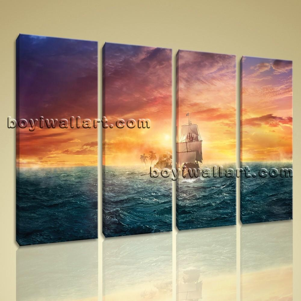 Canvas Prints Wall Art 4 Panels Sailing Boat Sunset Seascape Ocean Throughout Boat Wall Art (Image 4 of 20)