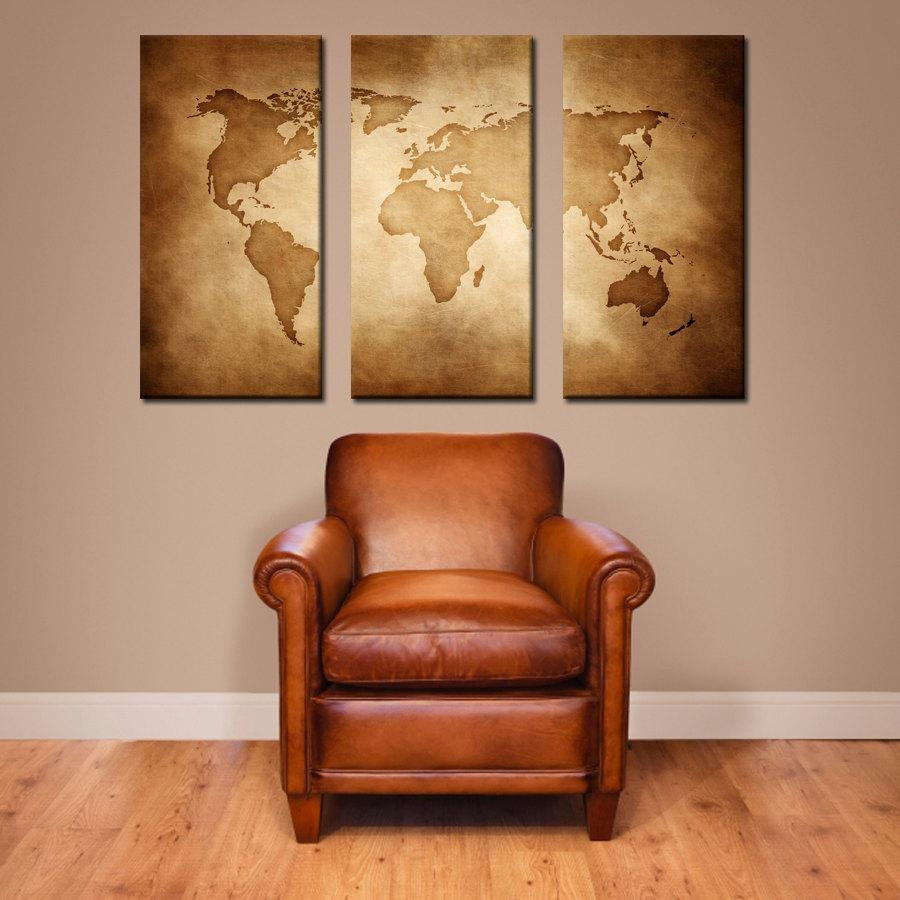Canvas // Vintage World Map // Large Canvas Art Large Wall With Large Vintage Wall Art (Image 6 of 20)