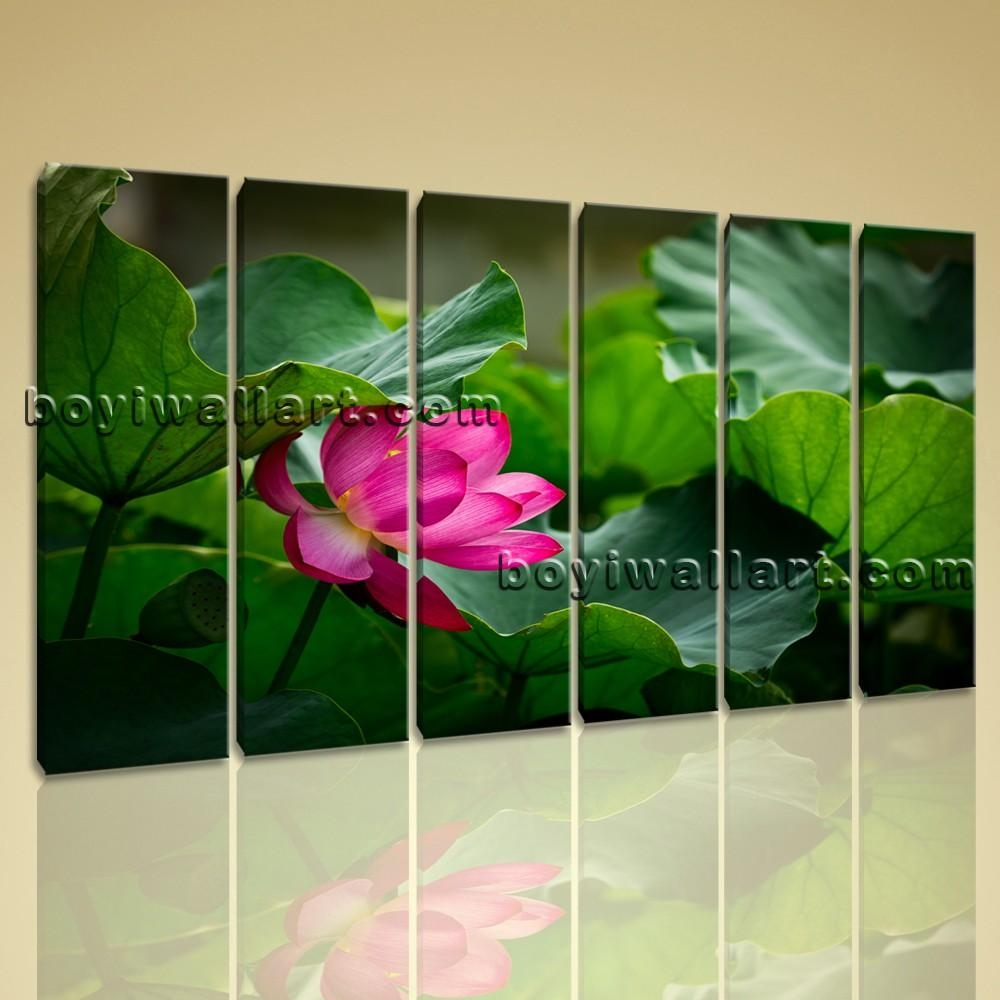 Canvas Wall Art Contemporary Home Decoration Hd Print Water Lily Intended For Green Canvas Wall Art (Image 10 of 20)