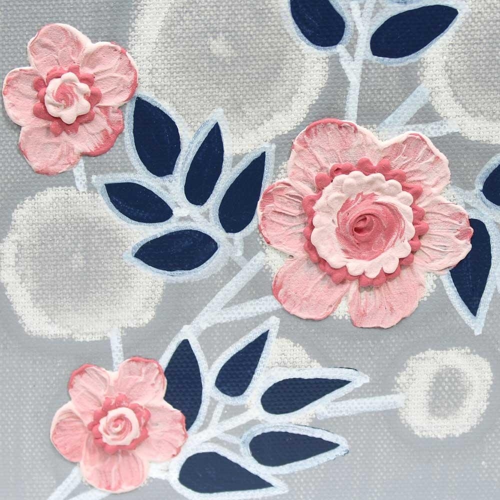 Canvas Wall Art Flower Painting In Gray Blue Pink – Small | Amborela Pertaining To Pink Flower Wall Art (Image 5 of 20)