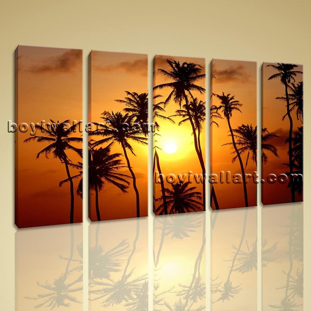 Canvas Wall Art Giclee Print Stretched Landscape Sunset Glow Palm Tree Within Huge Canvas Wall Art (Image 11 of 20)
