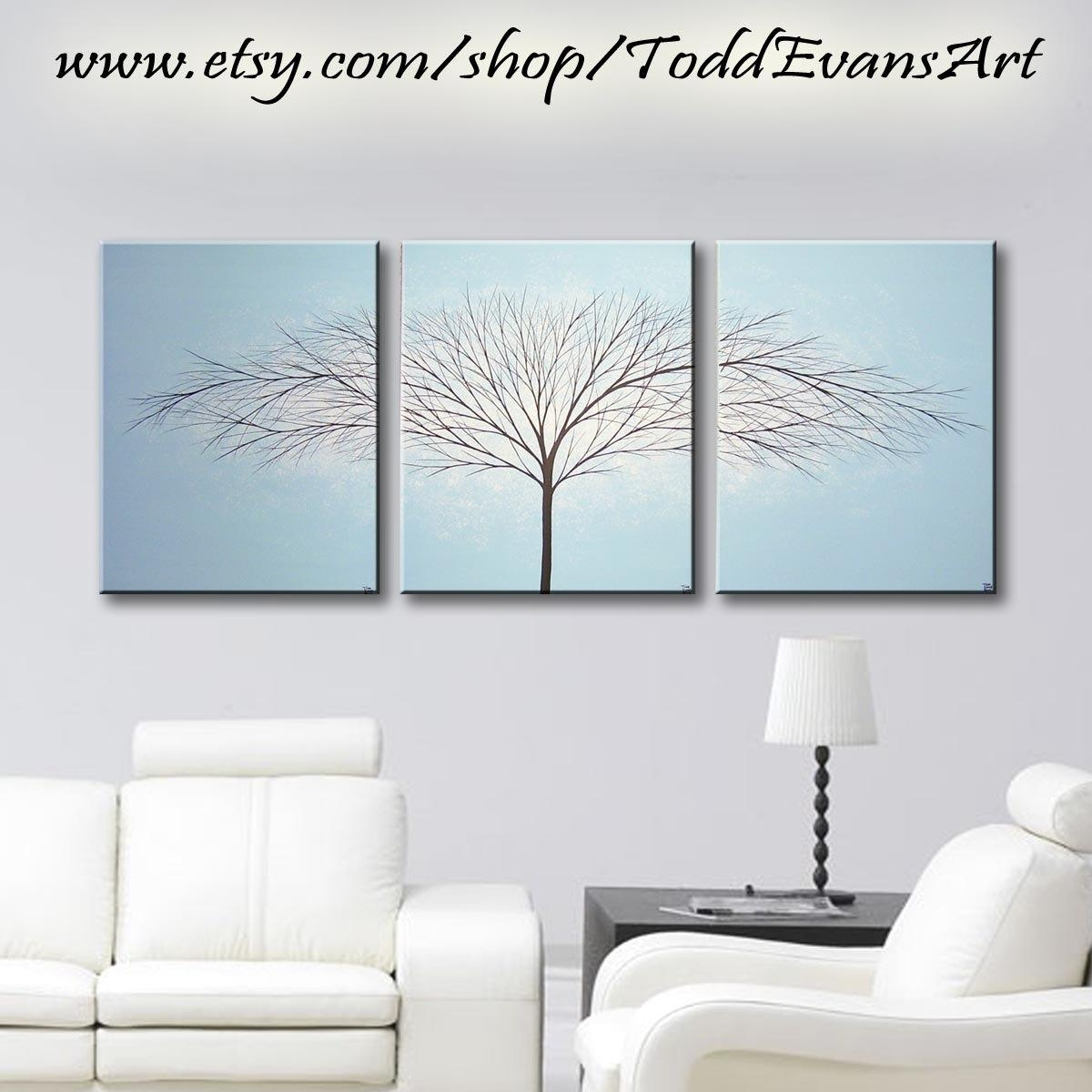 Canvas Wall Art Large Paintings Tree Of Life Wall Decor Intended For Blue And Cream Wall Art (View 4 of 20)