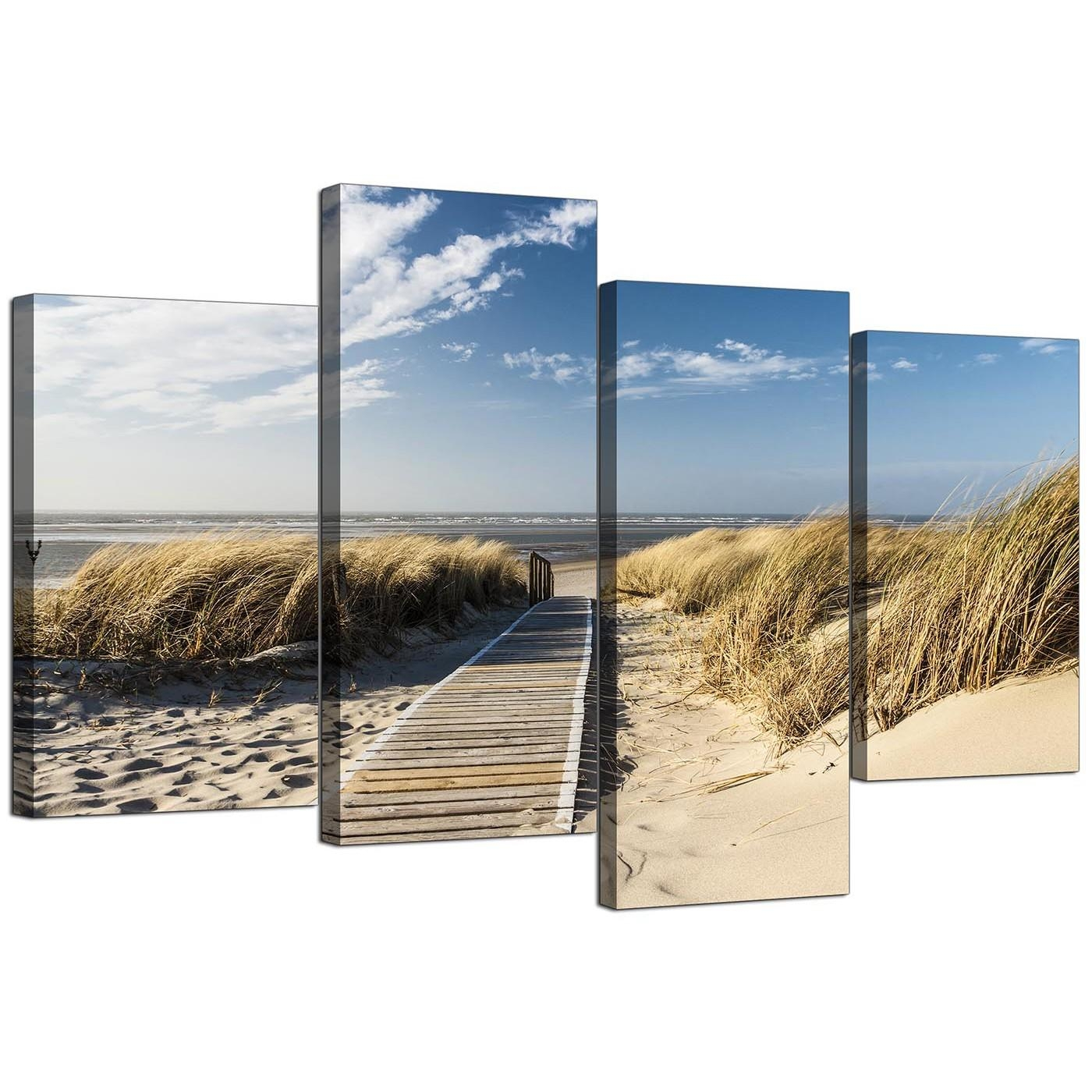 Canvas Wall Art Of A Beach For Your Living Room – Set Of Four Intended For Cheap Wall Canvas Art (View 6 of 20)