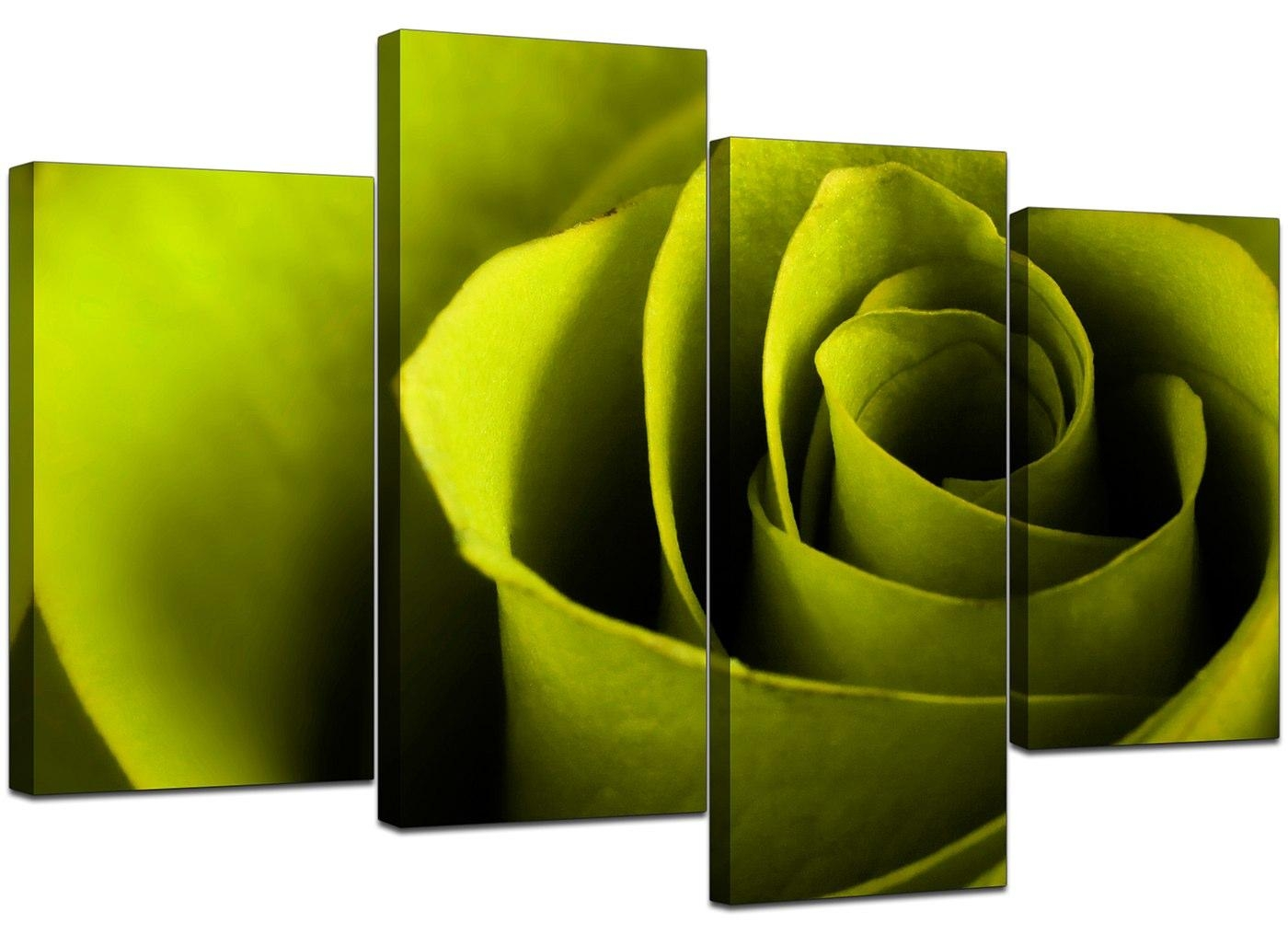 Canvas Wall Art Of A Rose In Green For Your Living Room Pertaining To Lime Green Wall Art (Image 11 of 20)
