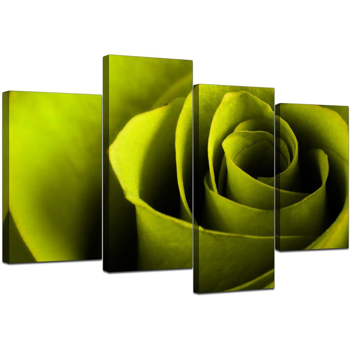 Canvas Wall Art Of A Rose In Green For Your Living Room Within Green Canvas Wall Art (Image 11 of 20)