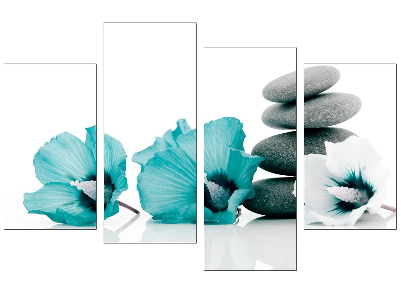 Canvas Wall Art Of Flowers In Teal For Your Living Room Pertaining To Teal Flower Canvas Wall Art (Image 6 of 20)