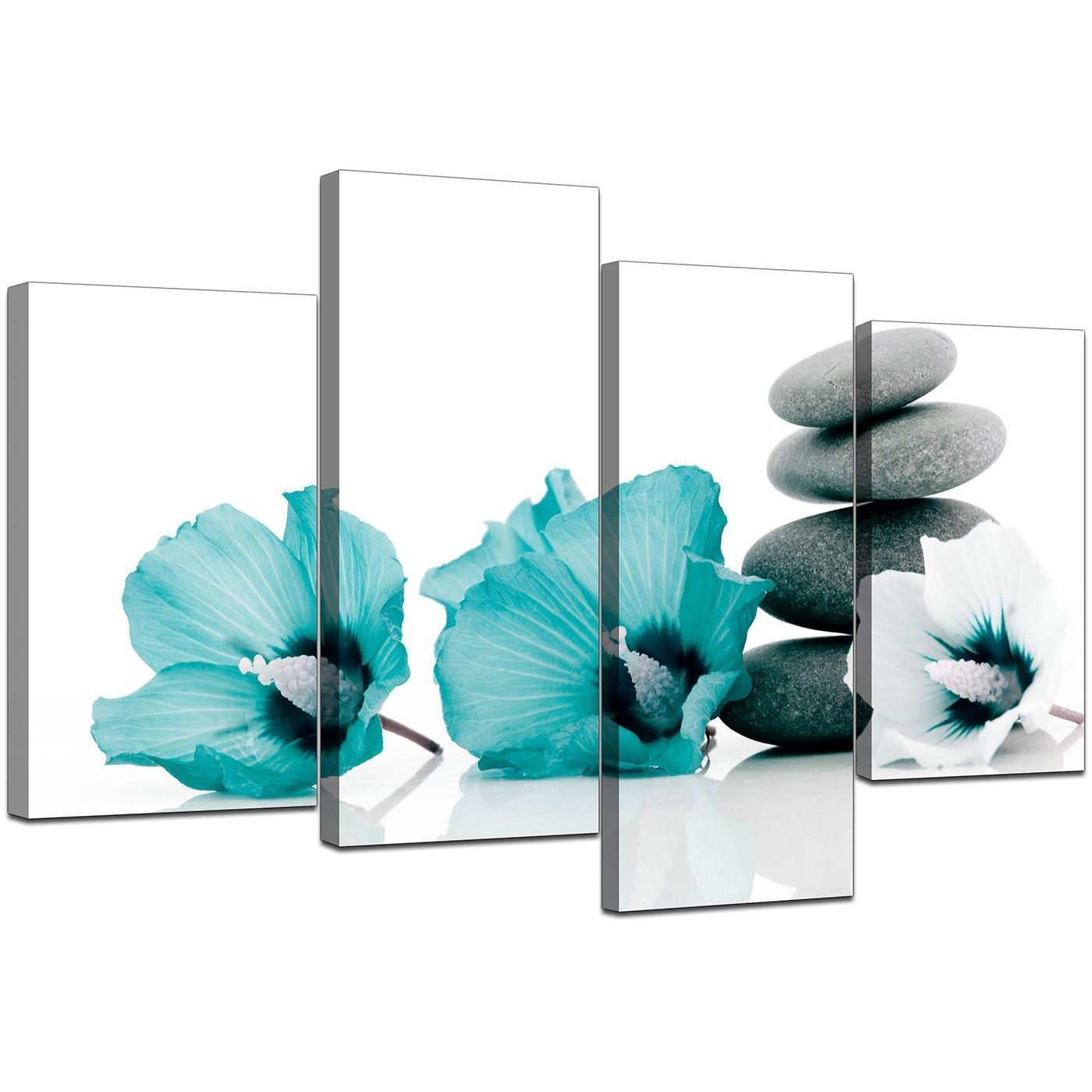 Canvas Wall Art Of Flowers In Teal For Your Living Room With Regard To Teal Flower Canvas Wall Art (Image 7 of 20)