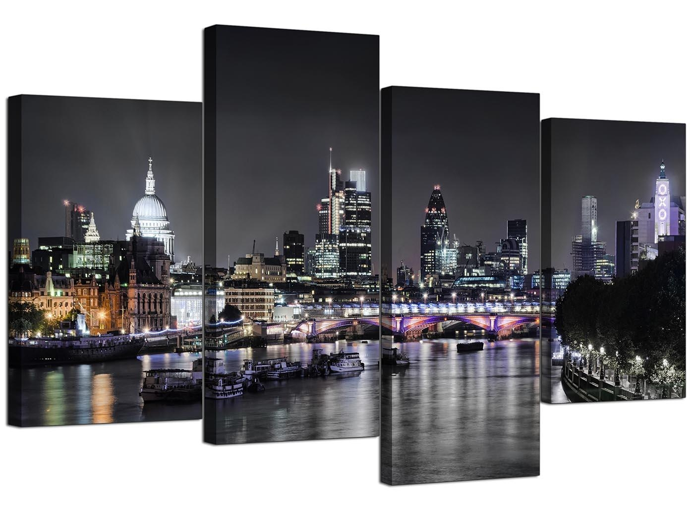 Canvas Wall Art Of London Skyline For Your Living Room – 4 Panel Pertaining To Cityscape Canvas Wall Art (View 2 of 20)