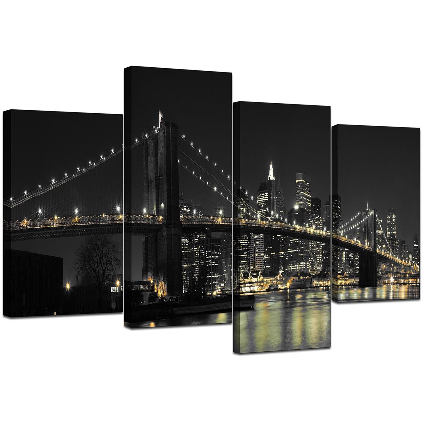 Canvas Wall Art Of New York For Your Office – 4 Part In Black And White New York Canvas Wall Art (Image 5 of 20)