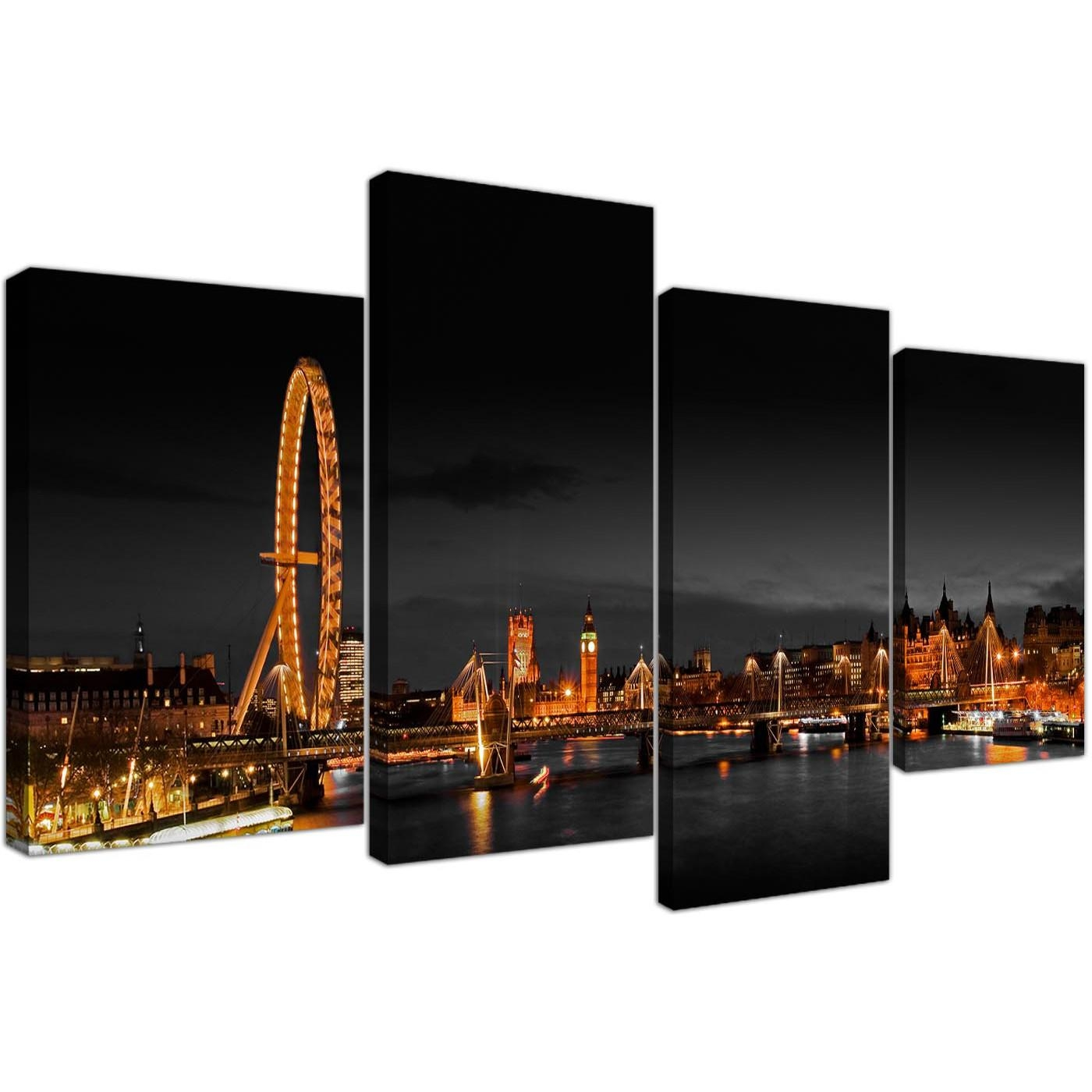 Canvas Wall Art Of Night Time London Eye For Your Office – Set Of 4 Regarding London Scene Wall Art (Image 4 of 20)