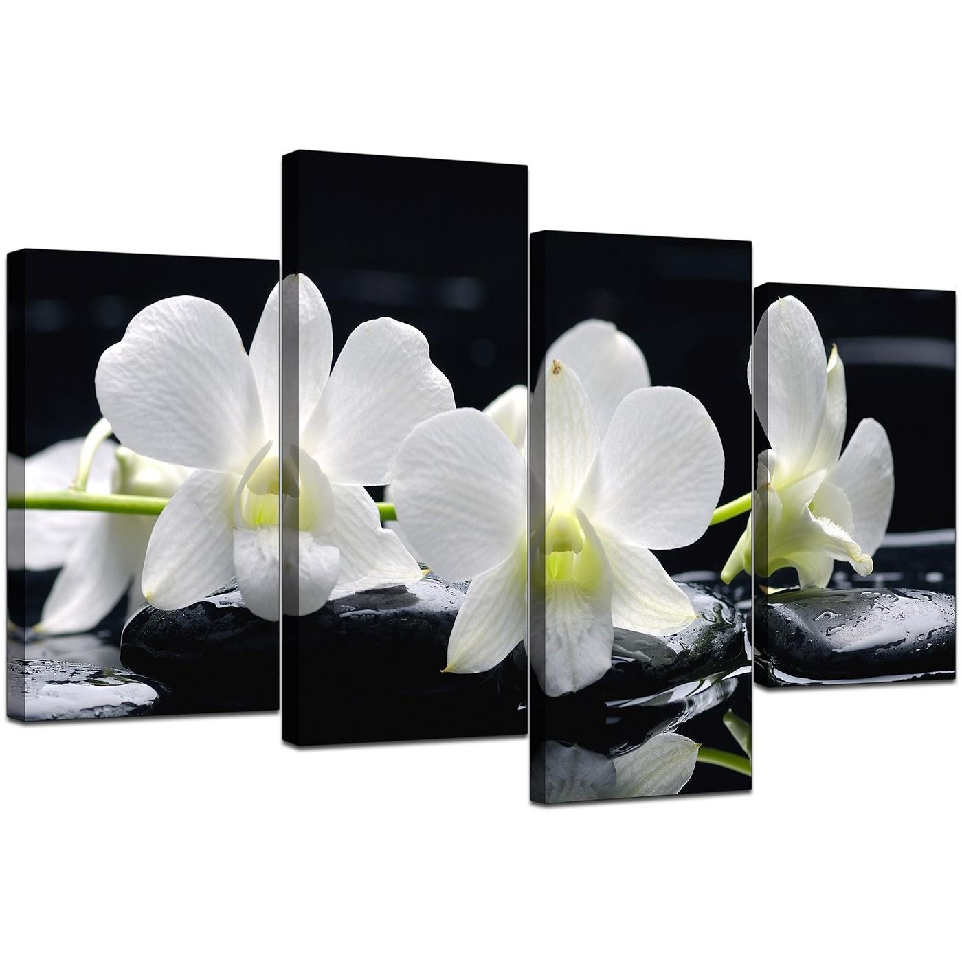 Canvas Wall Art Of Orchids In Black & White For Your Living Room With Large Black And White Wall Art (Image 8 of 20)