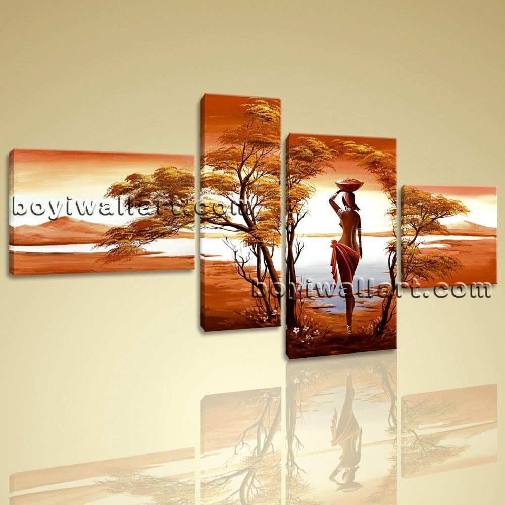 Canvas Wall Art Prints 4 Pieces Abstract Landscape Sunet Harvest Lady With Regard To Canvas Landscape Wall Art (Image 8 of 20)