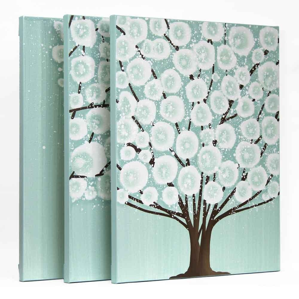 Canvas Wall Art Tree Painting Triptych In Teal Brown – Large Within Turquoise And Brown Wall Art (Image 7 of 20)