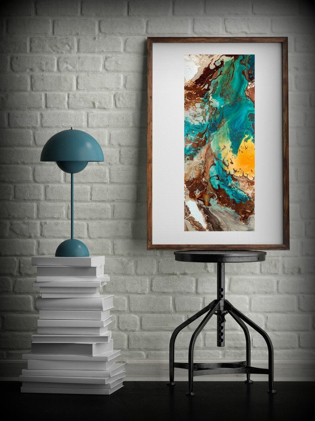 Canvas Wall Decor Large Abstract Wall Art Print Blue Brown Modern For Oversized Wall Art (View 20 of 20)