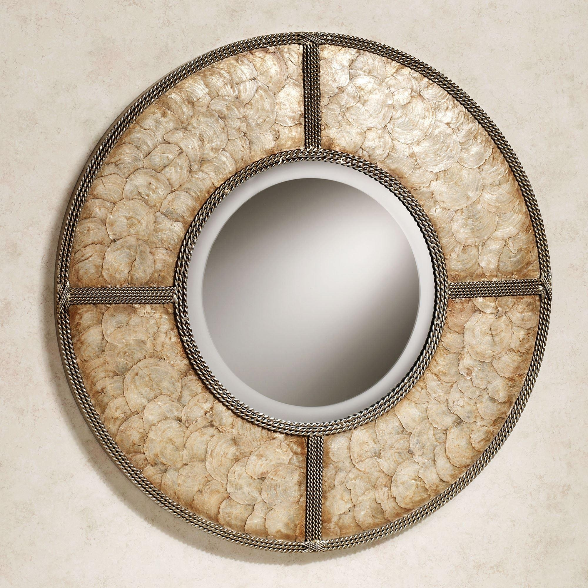 Capiz Shell Round Metal Wall Mirror Throughout Capiz Shell Wall Art (Image 8 of 20)