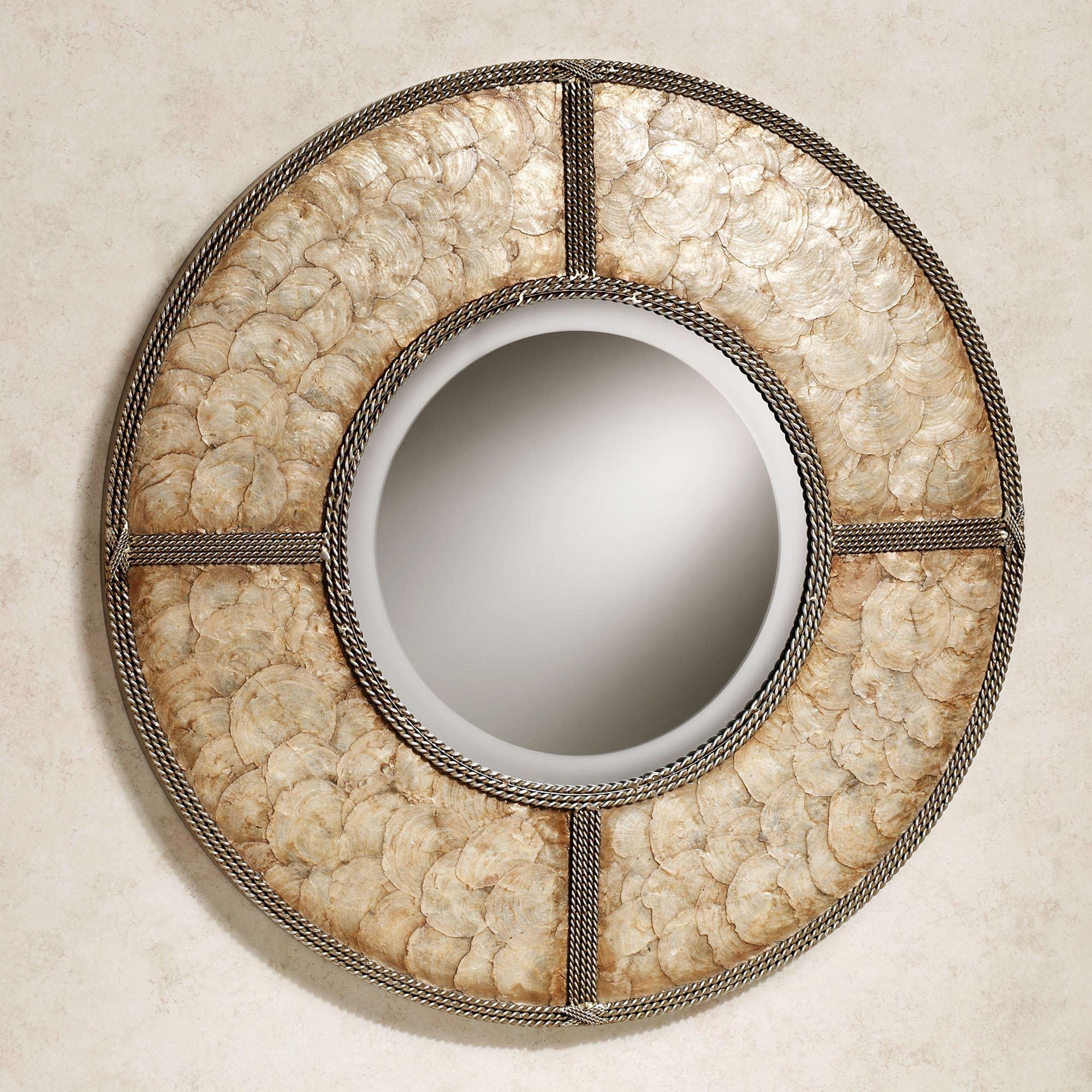 Capiz Shell Round Metal Wall Mirror Throughout Capiz Shell Wall Art (View 11 of 20)
