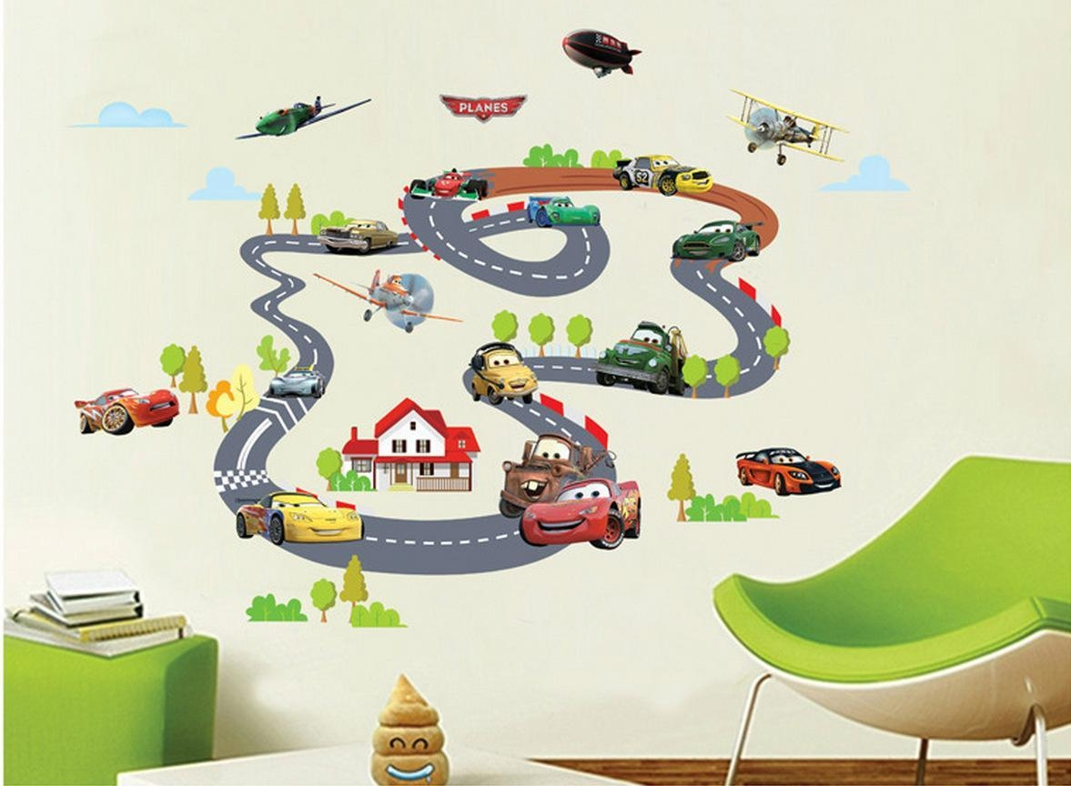 Car On Rail Racing Wall Art Decal Sticker Kids Room Nursery Mural  Throughout Lightning Mcqueen Wall Part 76