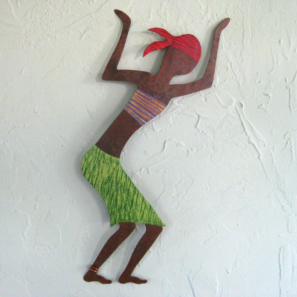 Caribbean Dancer Metal Wall Art Sculpture Green And Red Intended For African Metal Wall Art (Image 4 of 20)