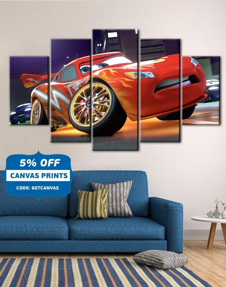 Cars Poster Cars Canvas Lightning Mcqueen Art Kids Room Pertaining To Disney Canvas Wall Art (View 12 of 20)