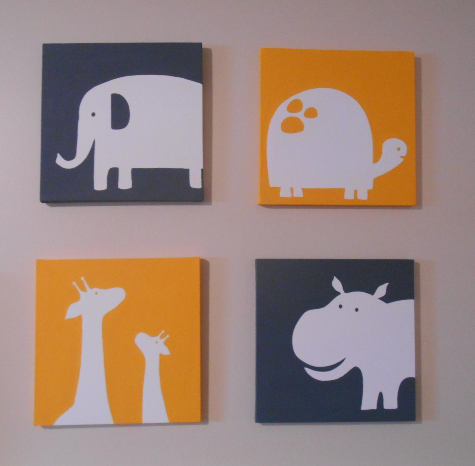 Carter's Inspired Zoo Animal Nursery Art Canvas Hand Painted 12 In Nursery Canvas Art (Image 5 of 20)