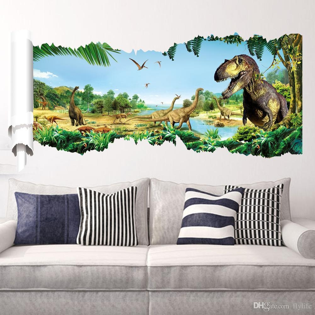 Cartoon 3D Dinosaur Wall Sticker For Boys Room Child Art Decor Pertaining To Dinosaur Wall Art For Kids (View 5 of 20)