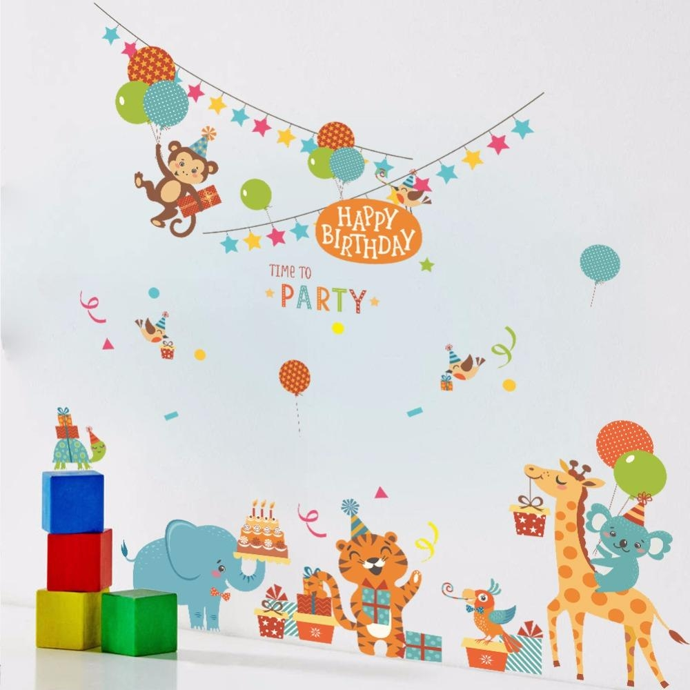 Cartoon Animals Birthday Party Wall Stickers Kids Room Nursery Inside Happy Birthday Wall Art (Image 4 of 20)