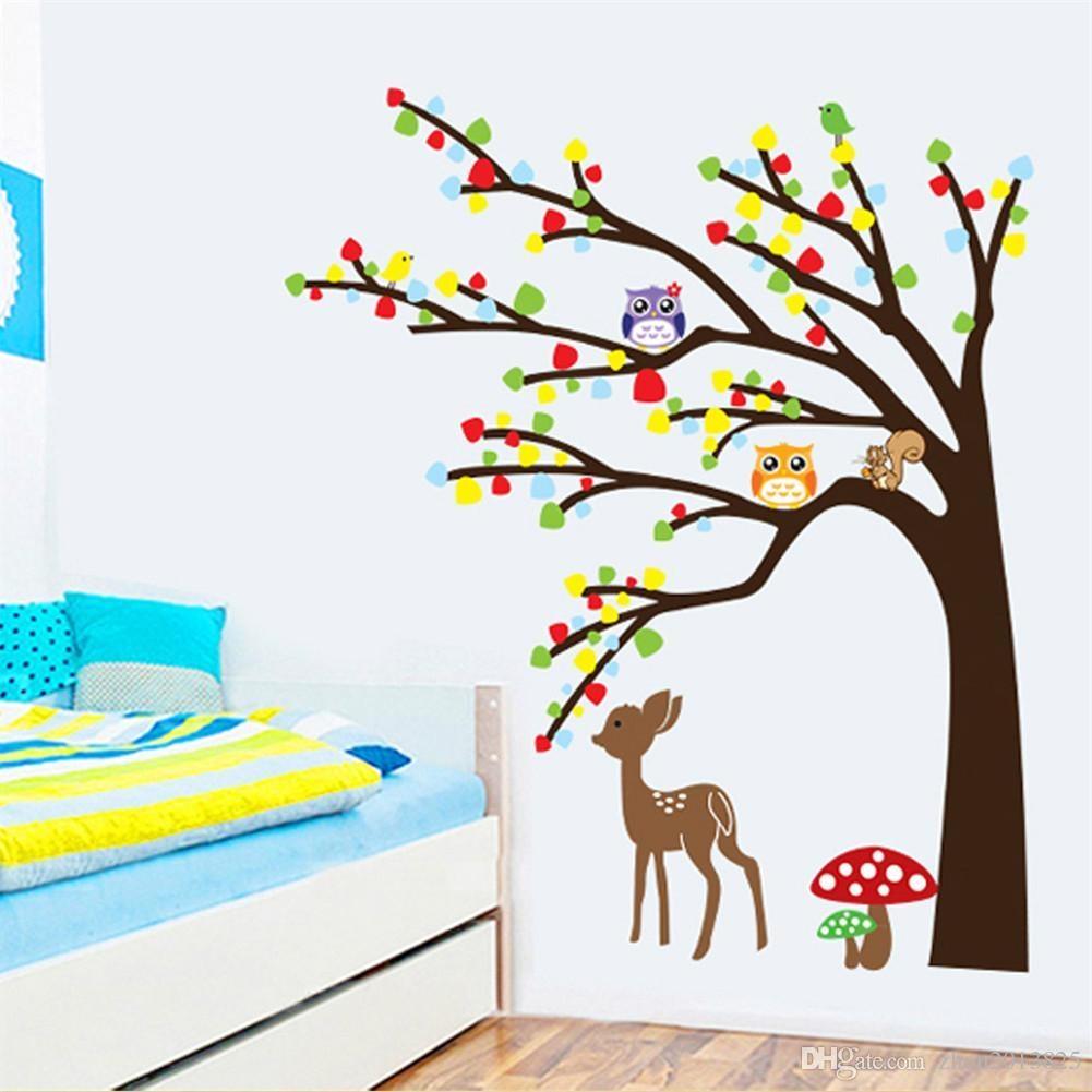 Cartoon Cute Animal Deer Owl Tree Mushroom Diy Wall Wallpaper Intended For Mushroom Wall Art (Image 6 of 20)