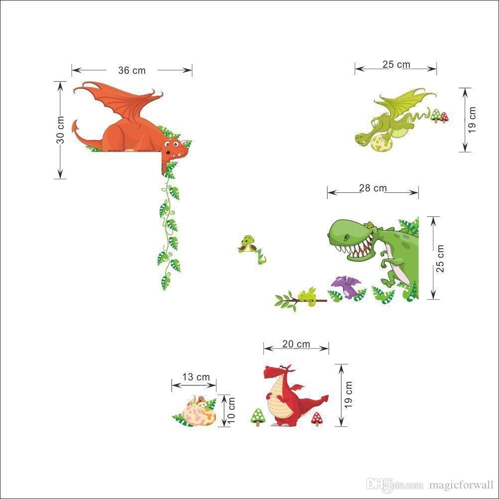 Cartoon Dinosaur Wall Art Mural Sticker Decor Kids Baby Boys Girls Pertaining To Dinosaur Wall Art For Kids (Image 4 of 20)
