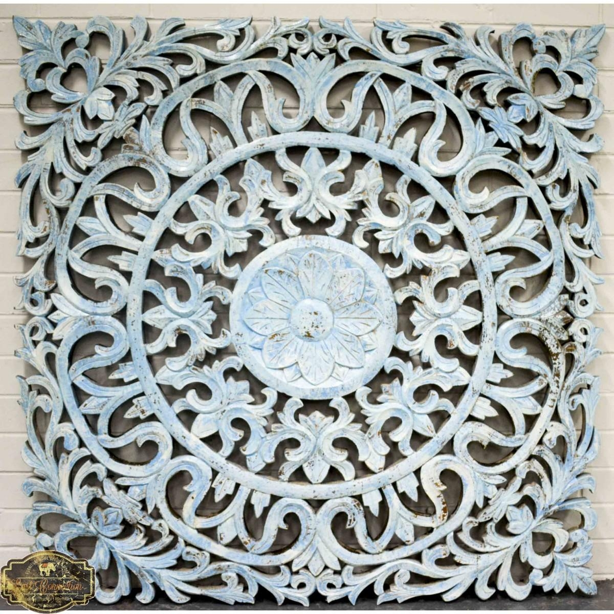 Carved Antique Pattern Timber Wall Art Panel For Pattern Wall Art (Image 9 of 20)