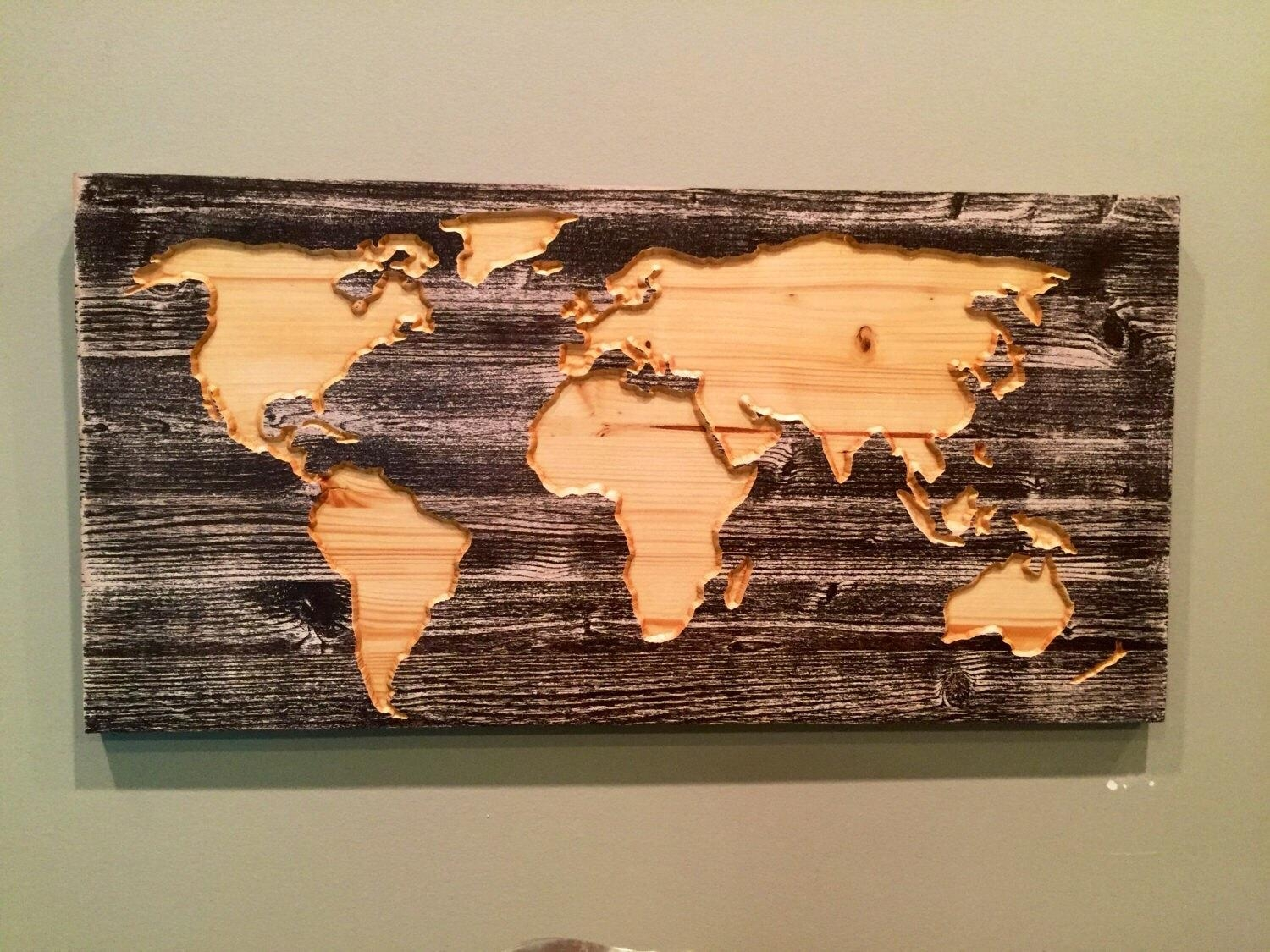 Carved Wooden World Map Wall Art World Map Home Decor World Within World Map Wood Wall Art (View 11 of 20)