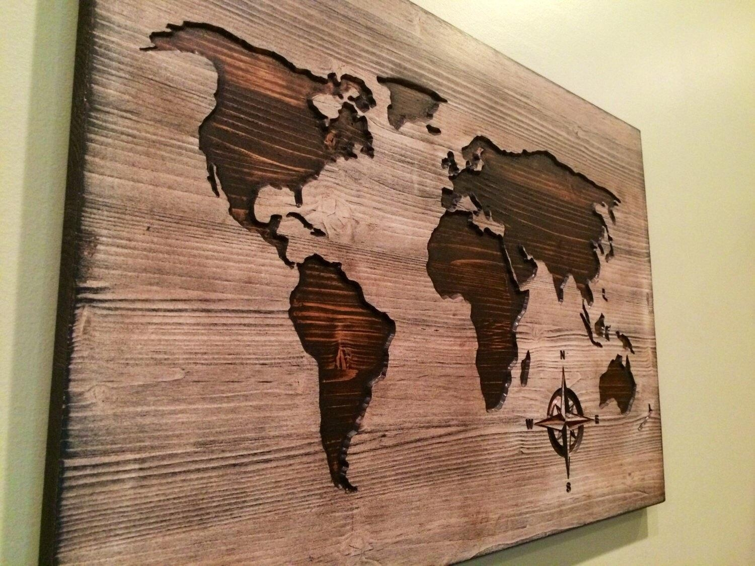 Carved Wooden World Map Wood Wall Art World Map Home Decor Throughout  Wooden World Map Wall