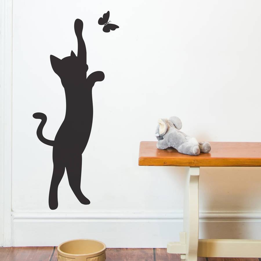 Cat And Butterfly Wall Stickernutmeg | Notonthehighstreet Throughout Butterflies Wall Art Stickers (Image 7 of 20)