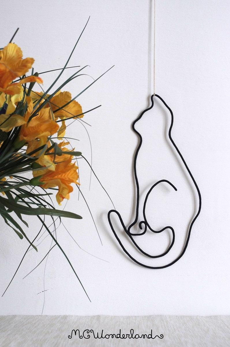 Cat Decorations Wire Wall Art Modern Style Home Decor Cat Throughout Wire Wall Art Decors (Image 9 of 20)