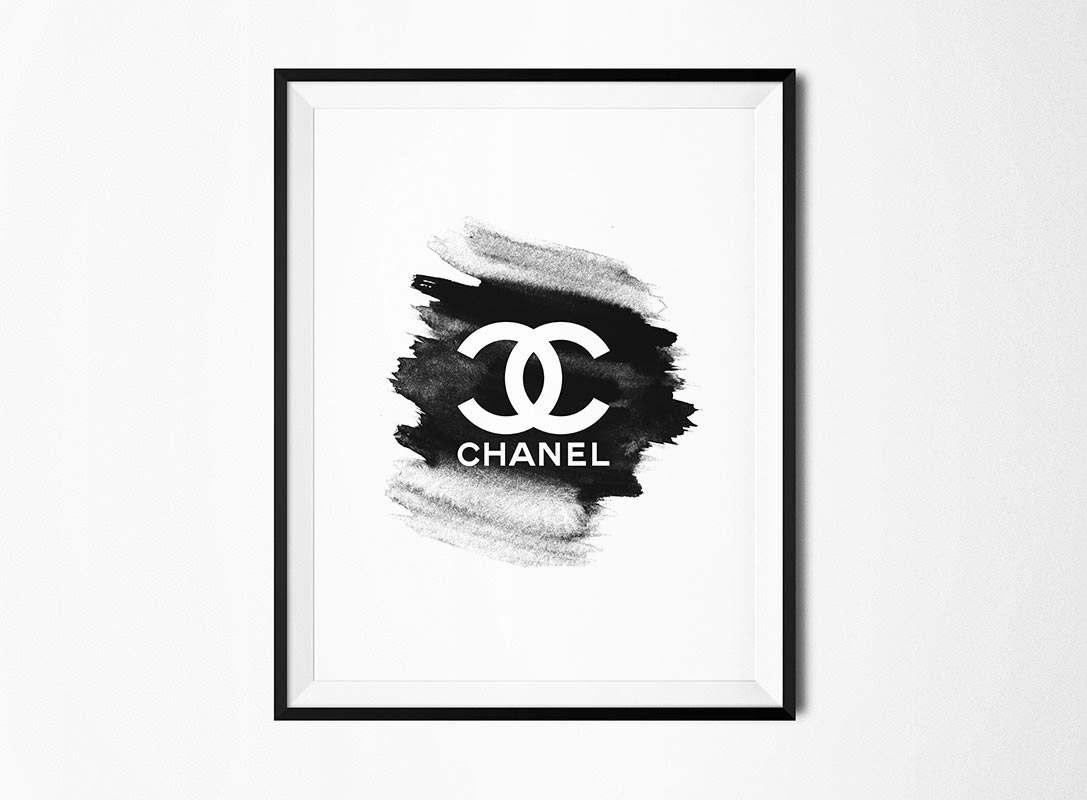 Cc Poster Watercolor Art Monochrome Art Fashion Print Within Chanel Wall Decor (Image 4 of 20)